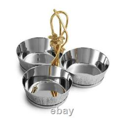 Michael Aram Ivy & Oak Hand Textured Stainless Steel Triple Bowl Dish Set