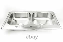 Nouveau 33x22x8 Topmount Double Bowl 18g 304 Évier De Cuisine En Acier Inoxydable Drop-in