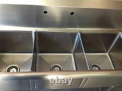 Nouveau Évier 3 Compartiments 14 X 10 Bols Nsf Acier Inoxydable Commercial #2077 Bassin