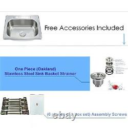 Nouvelle Deep Top Mount Drop In Stainless Steel Single Bowl Kitchen Sink Variety Size
