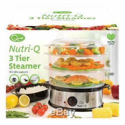 Nutriq 1200w 10,5 En Acier Inoxydable 3 Niveaux Hygiène Alimentaire Cuit-vapeur + Bol De Riz