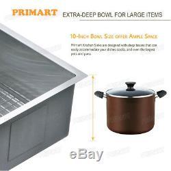 Primart 25 X 22 Pouces De Calibre 16 Cuve Simple Drop-in Éviers De Cuisine En Acier Inoxydable
