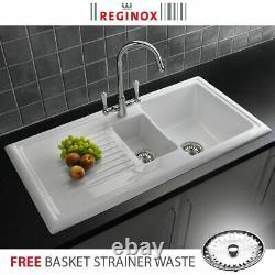 Reginox Rl301cw 1.5 Bol Évier De Cuisine Réversible En Céramique Blanche Et Déchets