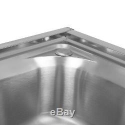 Restauration Évier De Cuisine En Acier Inoxydable Commercial Double Bowl Égouttoir Unit & Tap