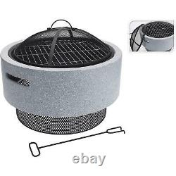 Rond Resin Fire Bowl Pit American Style Charcoal Bbq Outdoor Garden Patio