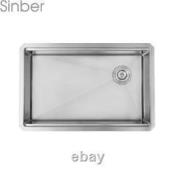 Sinber 30 Undermount 16 Gauge Cuve Simple En Acier Inoxydable Évier De Cuisine