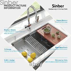 Sinber 32 Undermount 16 Gauge Cuve Simple En Acier Inoxydable Évier De Cuisine