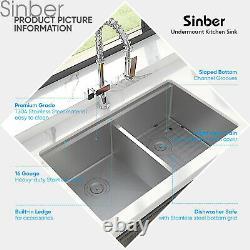 Sinber 33 16 Gauge 304 Acier Inoxydable Double Bowl Undermount Cuisine Sink 8pcs