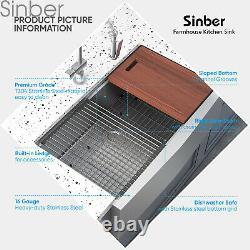 Sinber 33'' 16 Gauge Single Bowl Stainless Steel Farmhouse Tablier Kitchen Sink