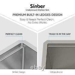 Sinber 33 ' ' Calibre 16 Cuve Simple En Acier Inoxydable Ferme Tablier D'évier De Cuisine