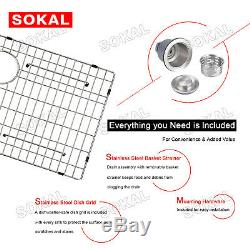 Sokal 33 X 21 Pouces Cuve Simple Tablier Avant Ferme Éviers En Acier Inoxydable