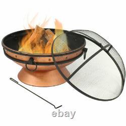 Sunnydaze 30 Fire Pit Steel Avec Finition Cuivre Avec Poignées Et Écran D'étincelle