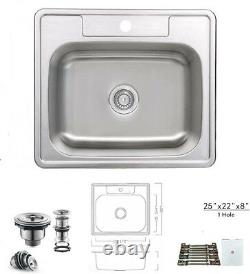 Top Mount Drop In Stainless Steel Single Bowl Kitchen Sink 25 X 22 X 8 1hole