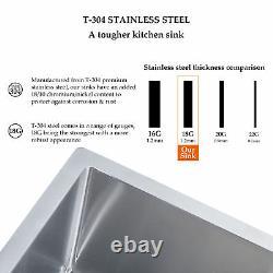 Undermount Stainless Steel Kitchen Sink Single Bowl 28 X 18 X 9 Avec Grille